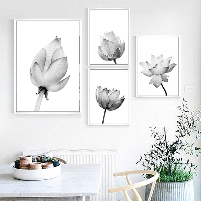 Canvas painting black white wall art print lotus flower pop art canvas painting black white wall art print lotus flower pop art minimalism posters and prints kids mightylinksfo