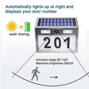 Image 3 - Güneş ev numarası plak ışık 200LM hareket sensörlü LED işıklar adres numarası ev bahçe kapı güneş lambası aydınlatma