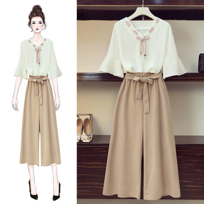 Women 2 Pieces Set Half Sleeve V Neck Blouse Bow Wide Leg Pants Elastic Waist Suits 2020 Spring Fashion Sweet Casual Sets Female