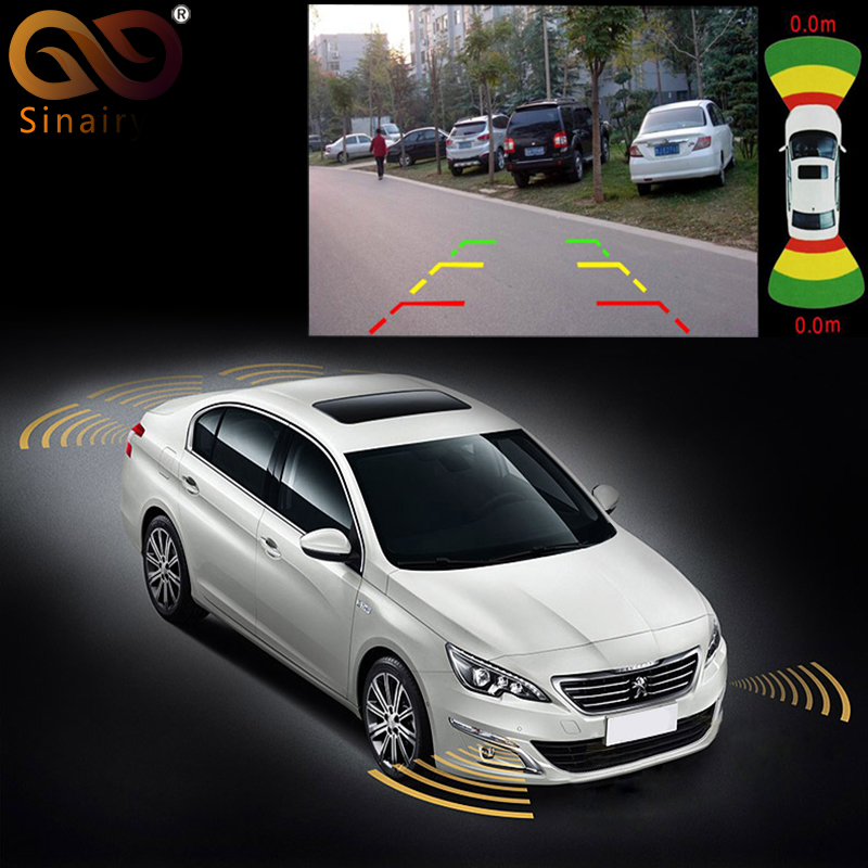 Dual Channel Car Video Parking Radar Sensor Front Rear 8 Sensors 2 Video Camera Input For Car Monitor Android DVD Player