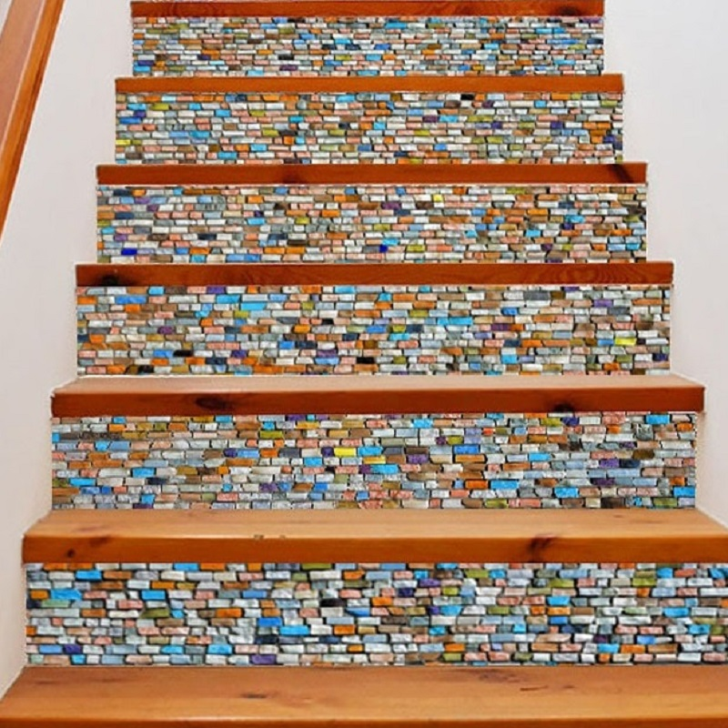 Us 18 1 48 Off 6pcs Colorful Bricks Stair Stickers Mosaic Tile Stickers For Home Walls Decal Pvc Wall Sticker Shop Stairs Waterproof Art In Wall