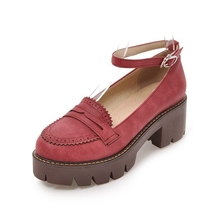 Купить с кэшбэком Round retro thick bottomed with color British wind Blok music shoes.