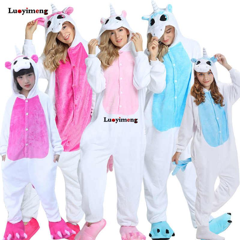 Зимний комбинезон с капюшоном с животными, детские пижамы кигуруми, пижамы с единорогом для женщин и взрослых, пижамы для мальчиков и девочек, пижама с пандой, Детский костюм