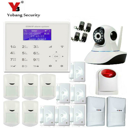 YobangSecurity Wireless WIFI GSM SMS Intruder Burglar Home Alarm System Wireless Siren IP Camera Pet Immune Detector Friendly etiger s3b etiger gsm sms alarm system solar power siren indoor siren ip camera super kit as same as chuango g5