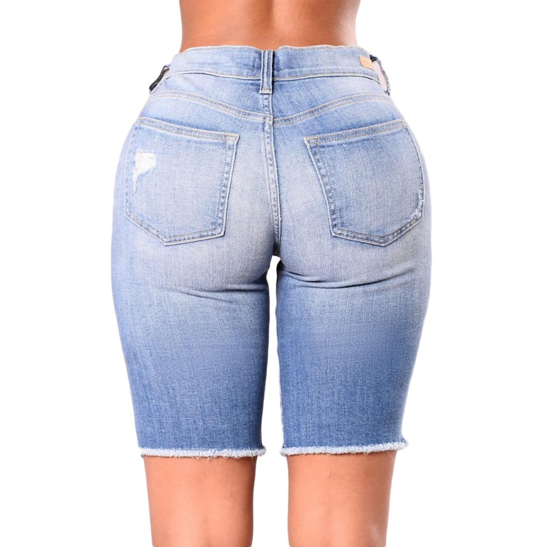 New Women Fashion High Waist Half Ripped Jeans Street Broken Slim Denim   Shorts   Half Trousers