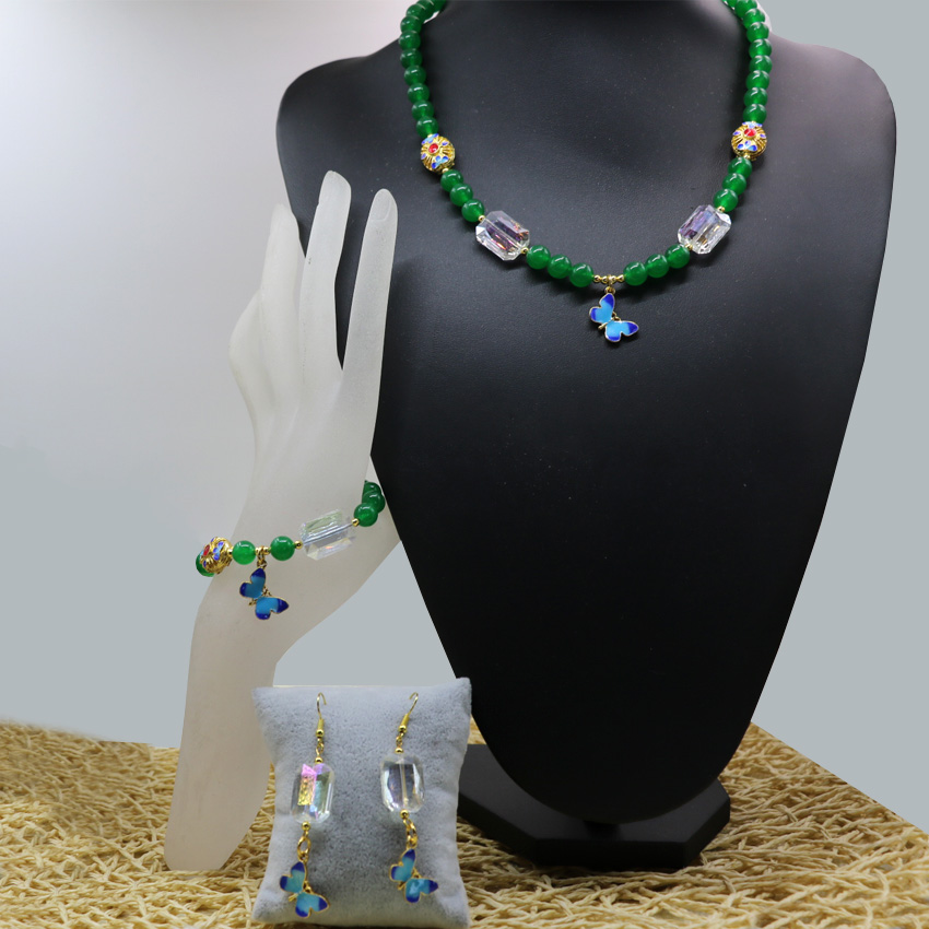 Free shipping natural green jade 8mm stone jasper round beads bracelets necklace earrings for women high grade jewelry set B2928