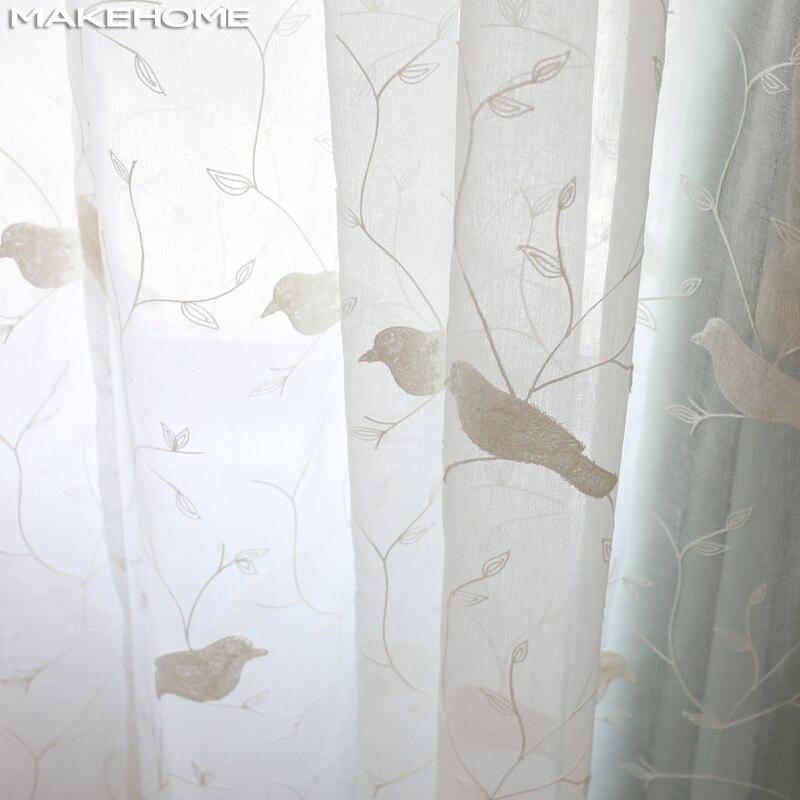 Branco tule cortinas para sala de estar pequenos pássaros pastoral para crianças quarto bordado sheer voile tule cortinas