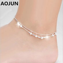 AOJUN 2016 Hot Leg Chain Fashion Anklets For Women Ankle Bracelets Barefoot Sandals Female Silver Anklet