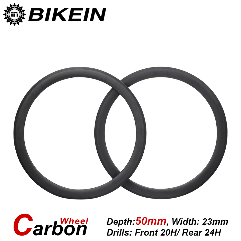 BIKEIN 1 Pair Cycling Road Bike 700C 3k Carbon Clincher Tubular Wheels 23mm Width 50mm Depth Ultralight Racing Bicycle Parts racing wheels h 480 7 0 r16 4x114 3 et40 0 d67 1