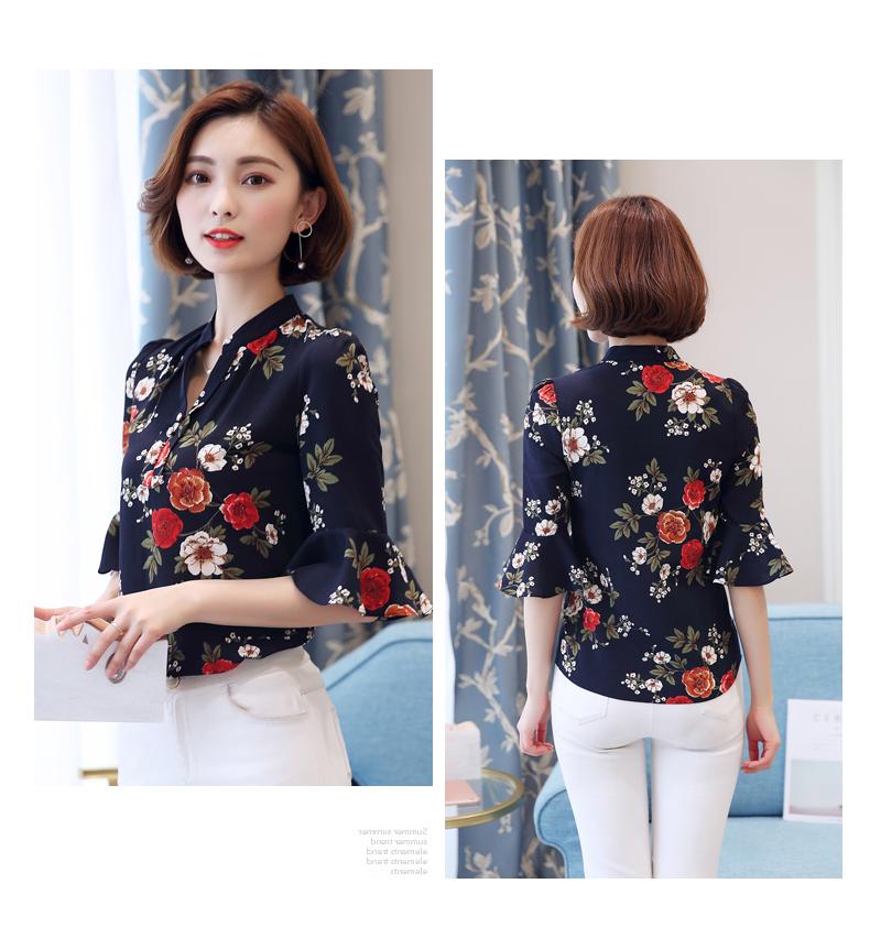 floral-chiffon-blouse-office-blouse