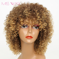 MISS WIG 16Inchs Long Kinky Curly Wigs For Black Women 250g Synthetic Wigs