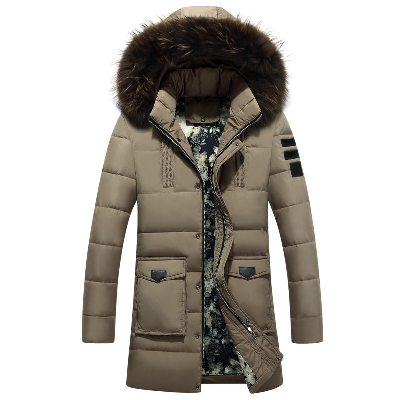 2a1efd18f5ed Brand Navy Parka Men 2017 Winter Jacket Men Fashion Design Big Fur Hooded  Men s Long Down Jacket Coat male Manteau Homme Hiver