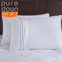 Puredown Home Bedding 600 Fill Power Goose Down Gusset Pillow With 2 Outer Pillow Protectors 100