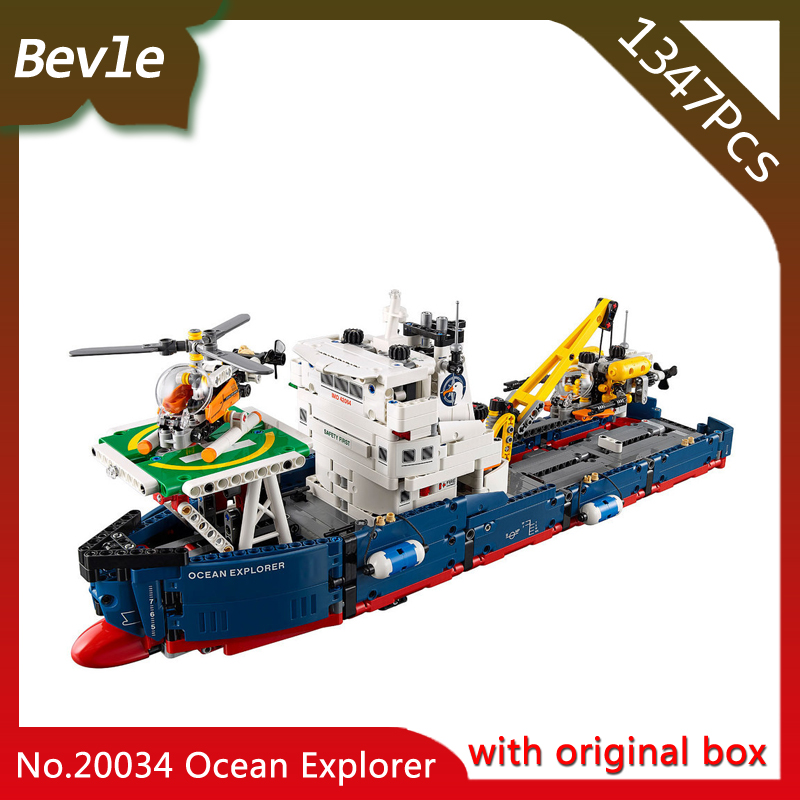 Bevle Store LEPIN 20034 1347Pcs with original box Technic Series helicopter rescue search ship Building Blocks For Children Toys toys for children china brand 355 self locking bricks compatible with lego technic rescue helicopter 8068 no original box