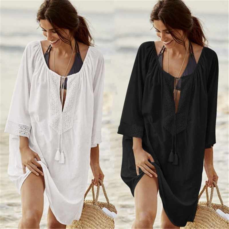 קיץ נשים ביקיני מכסה תחבושת בגד ים לחפות סקסי מוצק תחרה חוף שמלת חלול וחוף Loose למעלה בגדי ים 2019 טוניקות