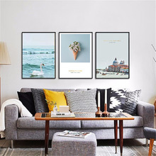HAOCHU Nordic Decorative Painting Modern City Landscape Living Room Study Mural Canvas Art Print Wall Poster Picture Home Decor