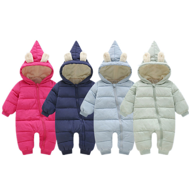 8e5d93d72cc9 Winter Warm Baby Rompers Thick Jumpsuit Infant Baby Girl Clothes Boys  Overalls Roupa Newborn Bebes Down Parkas Coat Snow Outwear