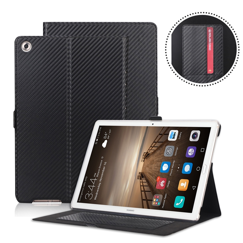 Carbon Fiber Pattern Flip Book Cover PU Leather Case For Huawei Mediapad M5 10.8 10 Pro CMR-AL09 CMR-W09 Tablet Card Slots