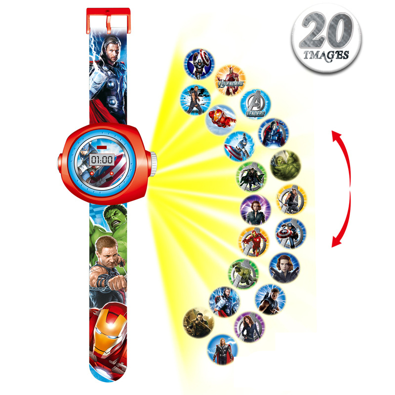 2019 Princess Spiderman Kids Watches 20 Projection Cartoon Pattern Digital Child Watch For Boys Girls LED Display Clock Relogio