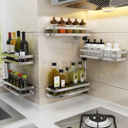 Punch-freies edelstahl küche rack öl salz sauce essig lagerung rack wand ecke rotation platzsparende