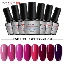 T-TIAO CLUB 7ml Pink Purple Series Nail Gel Polish Primer Soak off Lacquer UV LED Fast Dry Semi Permanent For Art