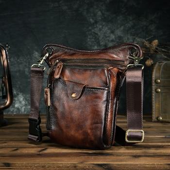 Design de couro genuíno masculino casual marrom clássico ombro estilingue saco moda viagem fanny cinto pacote perna saco 211-5-dc 1