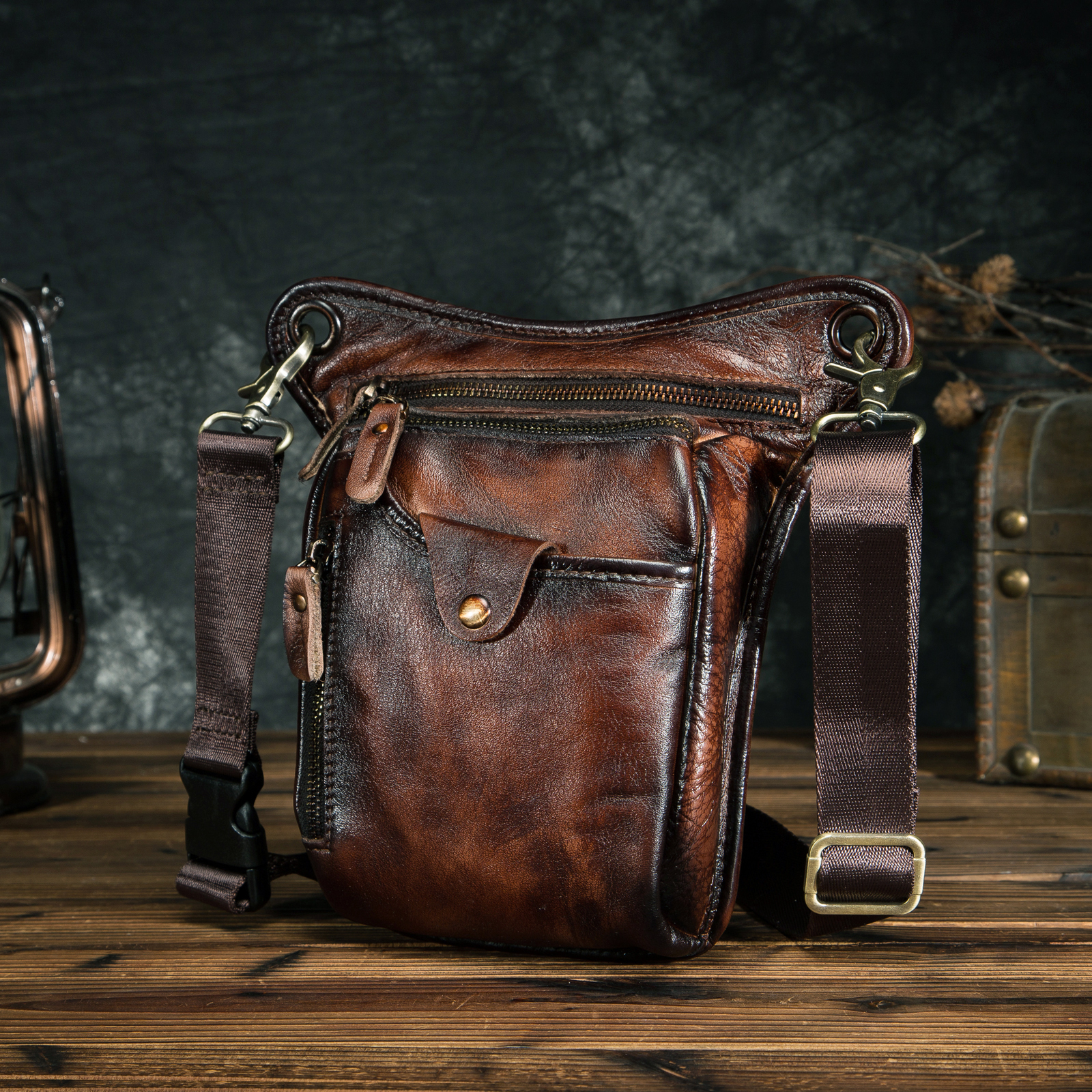 Genuine Leather Men Design Casual Brown Classic Shoulder Sling Bag Fashion Travel Fanny Waist Belt Pack Leg Bag 211-5-dc