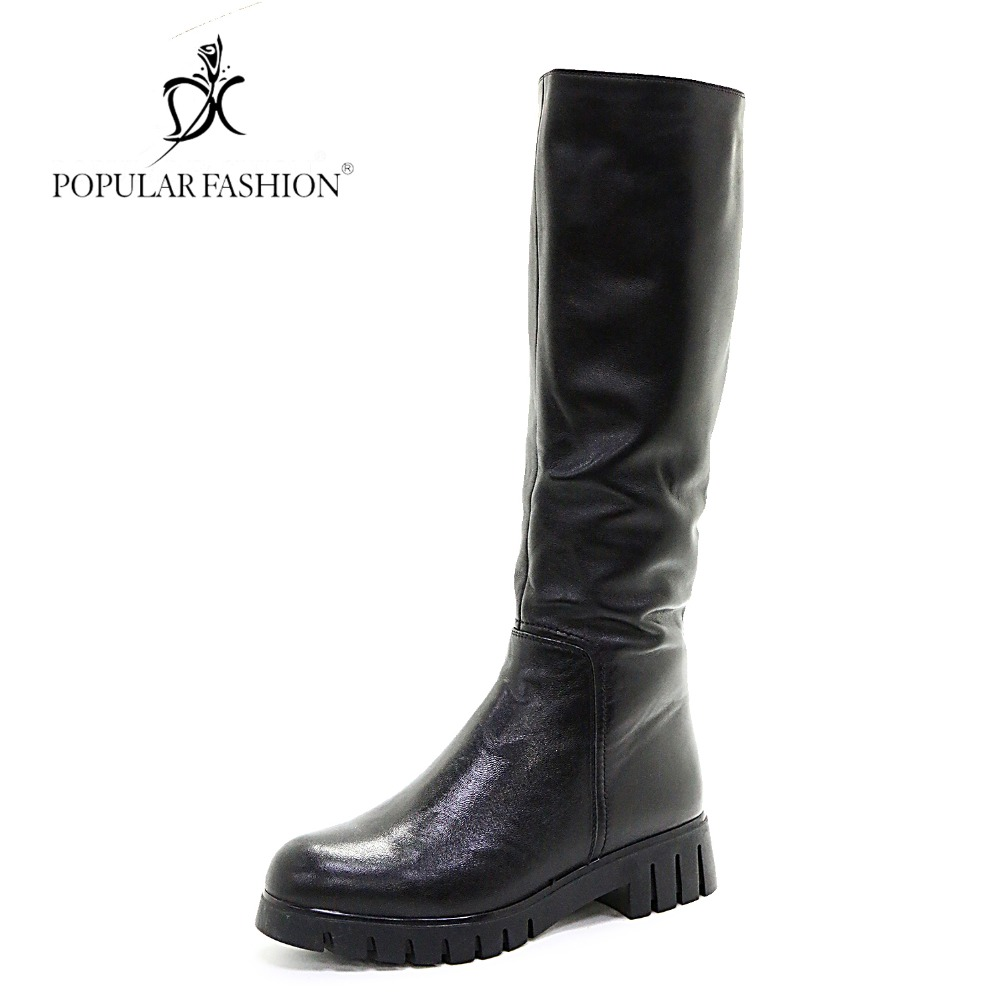POPULAR FASHION Brand Winter Boots Women Med Heel Luxury Cow Leather Long Boots Knee-High Wool Fur Warm Woman Shoes botas mujer