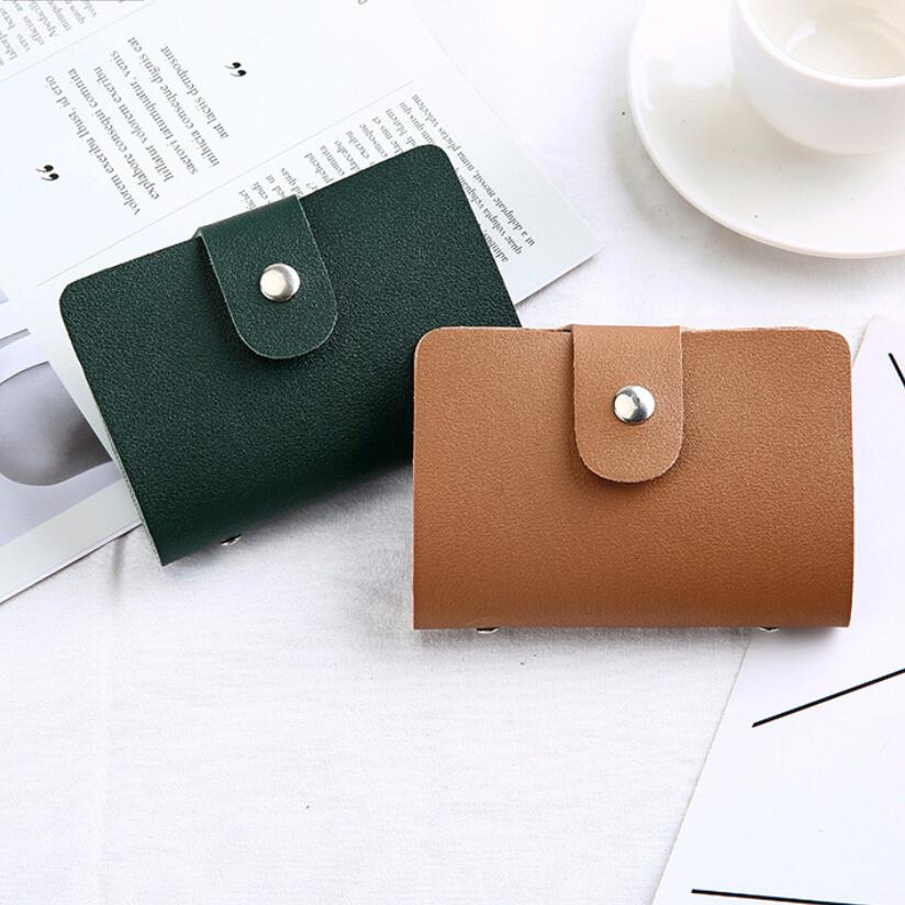 Unisex 24 Bits Fashion Leather ID Card Case Daily and Business Card Holder Protector Credit Card Passport Wallet for Men Women 24 bits card case credit card holder bank id cards women wallet pu leather passport business card holder book protector gifts