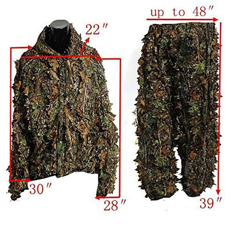 2pcs/set Hunting Ghillie Suits Hunting Clothes Laser Stereo Version jacket and pants Set Latest 3D Maple Leaf Printed Linen 1