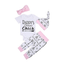 Newborn Baby Girl Clothes Summer Short Sleeve Printed Letters Bodysuit Tops Pants Hat 3PCS Girls Clothes 0-18M Baby's Sets
