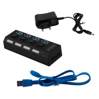 Professional Plug And Play 4 Port USB 3 0 Hub On Off Switches AC Power Adapter