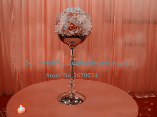 Golden Acrylic Ball Flower Stand Wedding Decorative Table Centerpieces With  Flower Bowl
