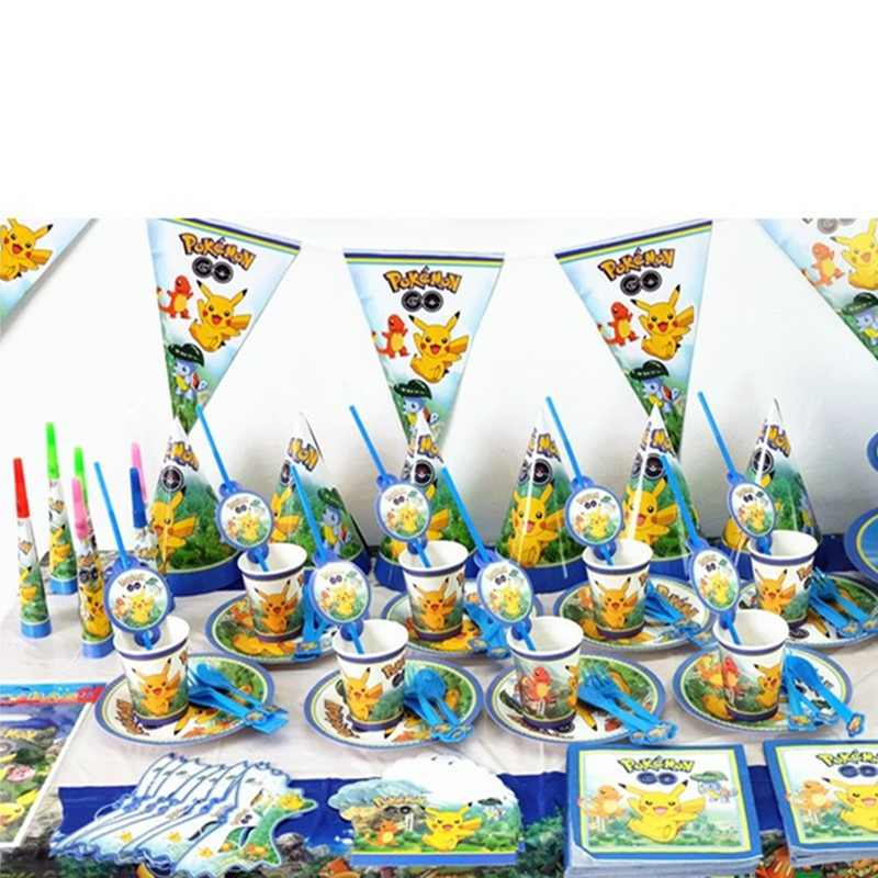 Pokemon Go Theme Design 83Pcs/Lot Disposable Tableware Girls Birthday Party Family Party Cup Plate Napkin Decoration Supply