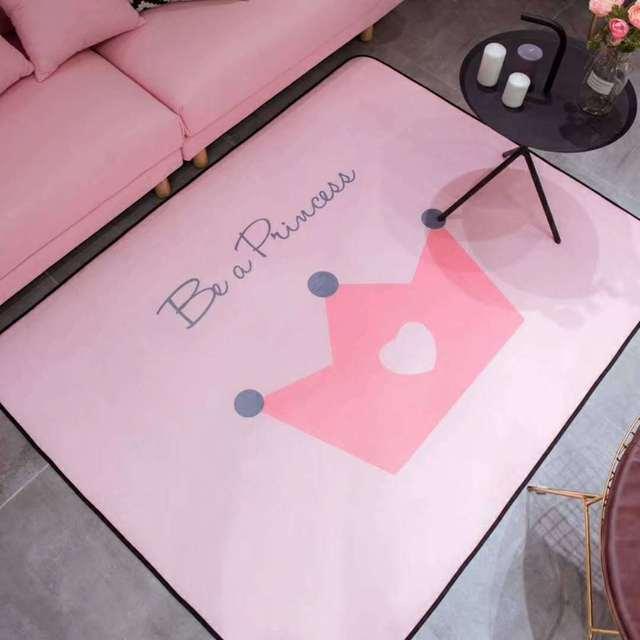 140*190 cm Tapis de zone pour salon rose princesse couronne Tapis enfants chambre chambre antidérapant enfant Tapis doux bébé Tapis de jeu Tapis