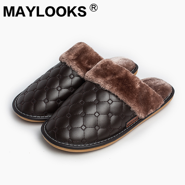 62b20c7f168 Men s Slippers Winter Pu Leather Thick With Plush Home Indoor Non-slip  Thermal Slippers 2018 New Hot Sale Maylooks M-8838