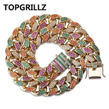 TOPGRILLZ 18 mm Width 4 Colors Mens Cuban Chain Necklace Iced Out Bling AAA+ CZ Stones Hip Hop Gold Silver Color Chain Jewelry