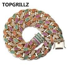 TOPGRILLZ collier chaîne cubaine, 18 mm de largeur, 4 couleurs, bijoux en pierres précieuses AAA + CZ glacé, Hip Hop, chaîne de couleur or argent