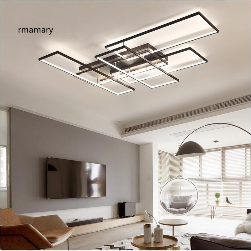 Minimalist LED Restaurant Lamp Bedroom Living Room Ceiling Light Fashion Creative Aluminum Ceiling Lamp Lighting Remote Control