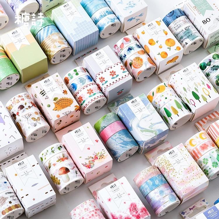 3pcs/pack Flowers Cloud Japanese Washi Tape Decorative Adhesive Tape Decora Diy Scrapbooking Sticker Masking Label Stationery