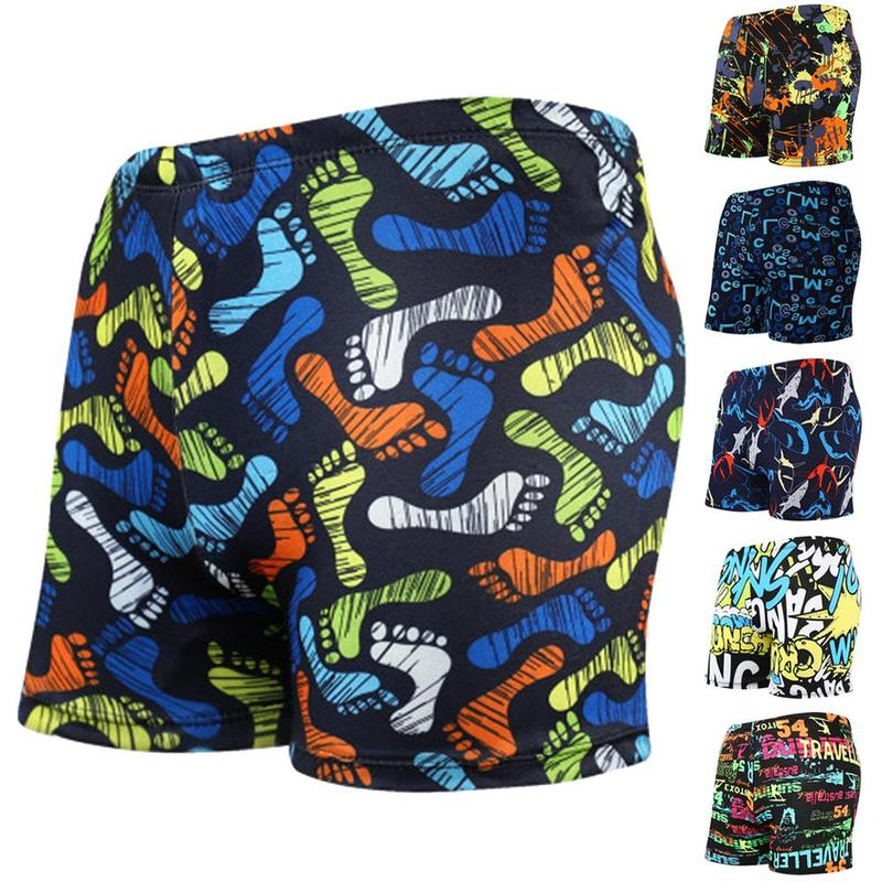 Shorts Swimwear Bathing-Suit Printed Men's Big-Size Letter Hot-Spring Adult Personal