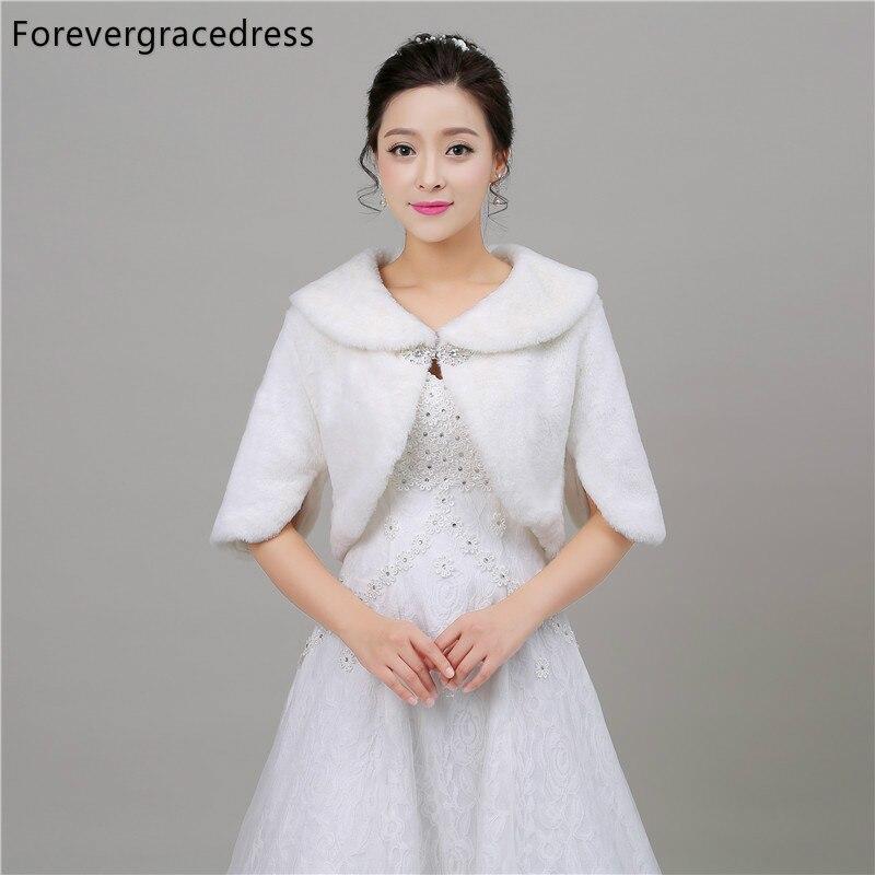Forevergracedress Hot Sale New Faux Fur Stoles Wedding Wrap Winter Bolero Jacket Bridal Accessories Cape Cloak In Stock