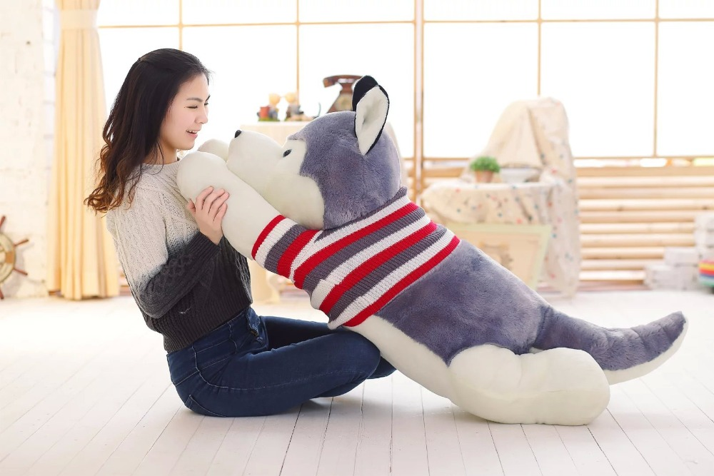 largest size 140cm gray husky plush toy ,stuffed toy, sweater cloth prone dog hug pillow ,surprised birthday gift h2999 stripes sweater design prone husky largest 165cm gray husky dog plush toy sleeping pillow surprised christmas gift h907