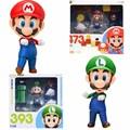 Super Mario Bros Mario Luigi  Figures Nendoroid Mario 473 Luigi  393 PVC Action Figure Collection Model Toy Doll Gifts