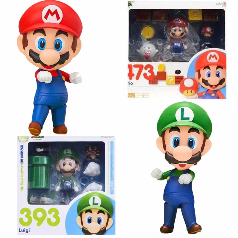 Super <font><b>Mario</b></font> Bros <font><b>Mario</b></font> <font><b>Luigi</b></font> <font><b>Figures</b></font> Nendoroid <font><b>Mario</b></font> 473 <font><b>Luigi</b></font> 393 <font><b>PVC</b></font> <font><b>Action</b></font> <font><b>Figure</b></font> Collection Model Toy Doll Gifts