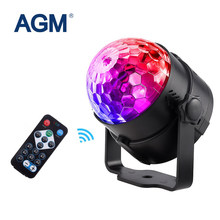 AGM RGB Disco Ball LED Stage Lighting Lumiere DJ DMX Laser Christmas Lights Projector Party Lamp Sound Light Show Strobe Effects(China)