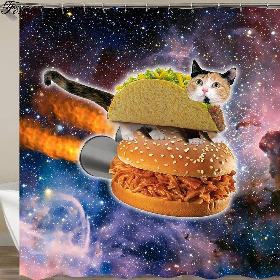 Занавеска для душа с мультяшным котом, 3D занавеска для душа в ванную комнату, s Водонепроницаемая тканевая Штора для душа, забавная душевая з...
