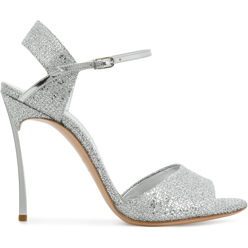 Newest Silver Glitter Embellished Peep Toe High Heel Shoes Sexy Ankle Strap Thin Heel Sandal for Woman Cutouts Buckle Strap Shoe apoepo fashion patent leather wedge sandal for woman super high ankle strap platform shoes rope braided buckle strap summer shoe