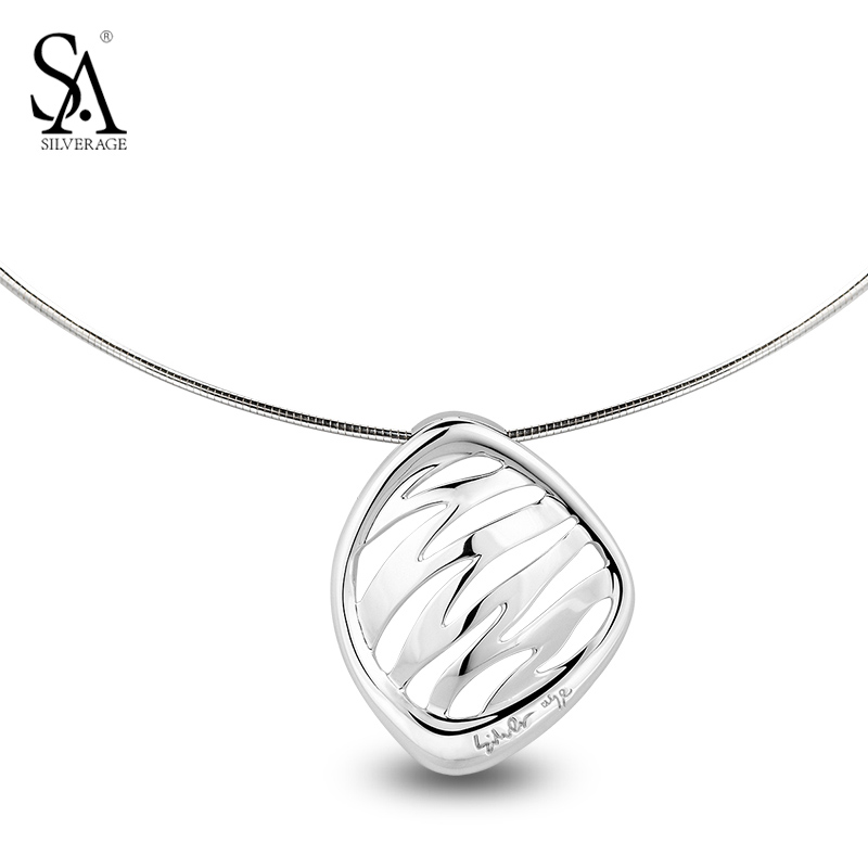SA SILVERAGE Real 925 Style Silver Pendant Necklace Choker Necklaces Fashion Statement Jewelry Jewellery Gift For Women Girls chran new fashion luxury vintage style jewellery multi layer string twist faux pearl choker necklaces