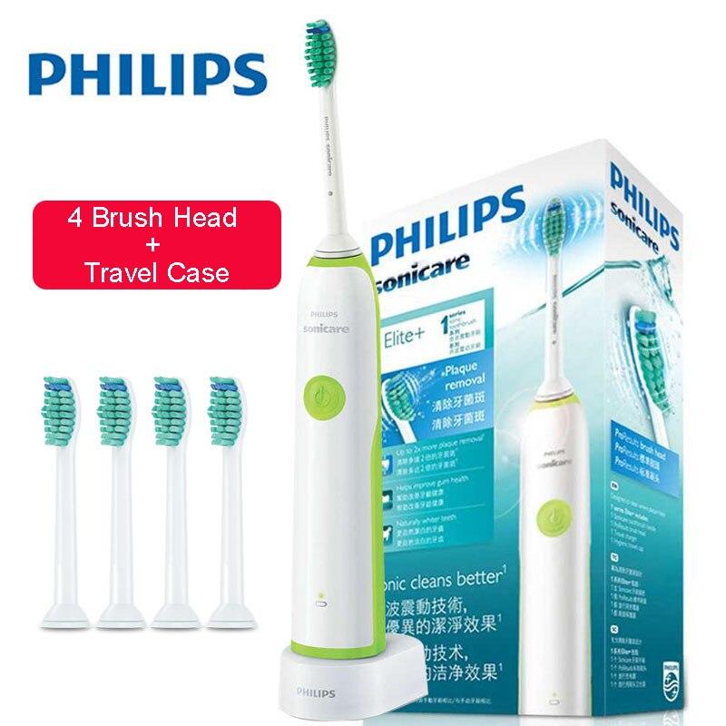 Philips Sonicare Brosse À Dents Électrique HX3216 Rechargeable avec 4 Remplacement Têtes de Brosse Étanche Utiliser jusqu'à 10 Jours
